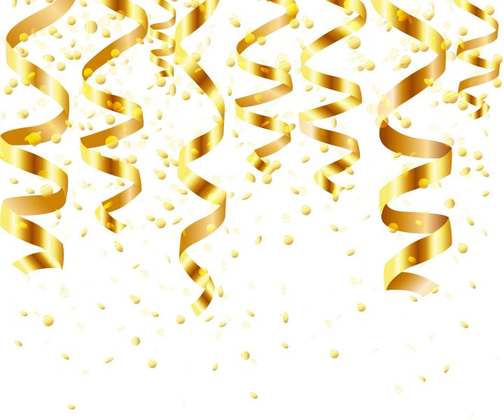 Gold Curling Stream, Isolated On White Background, Vector Illustration